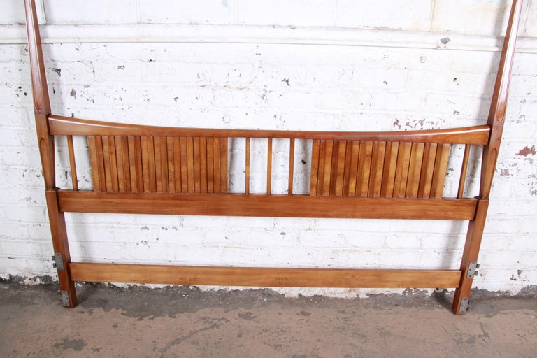 John Widdicomb Mid-Century Modern Sculpted Cherrywood King Size Headboard In Good Condition In South Bend, IN
