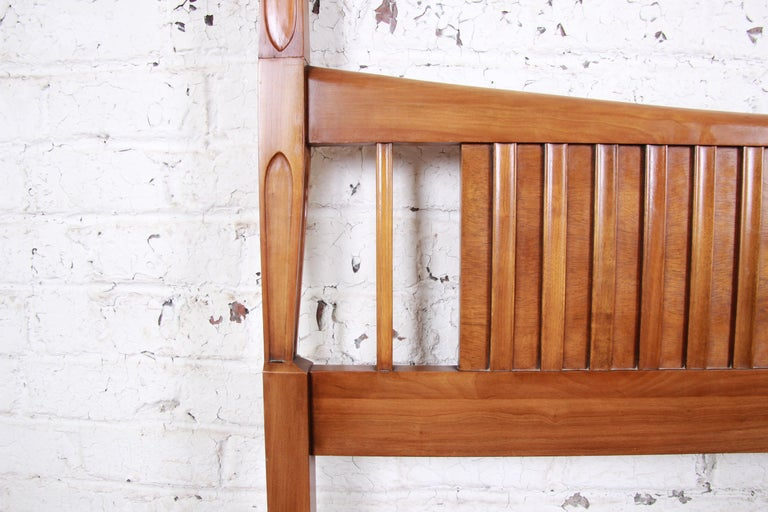 Mid-20th Century John Widdicomb Mid-Century Modern Sculpted Cherrywood King Size Headboard