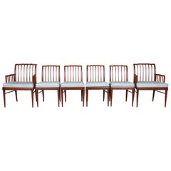 John Widdicomb Mid-Century Modern Sculpted Walnut Dining Chairs, Refinished