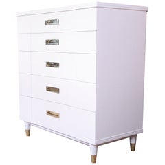 John Widdicomb Mid-Century Modern White Lacquered Highboy Dresser, Refinished