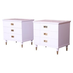 John Widdicomb Mid-Century Modern White Lacquered Nightstands, Newly Refinished