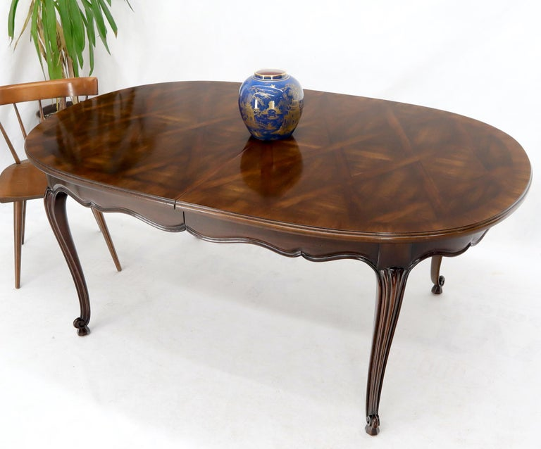 John Widdicomb Parquet Inlay Country French Dining Table with 3 Leaves For Sale 2