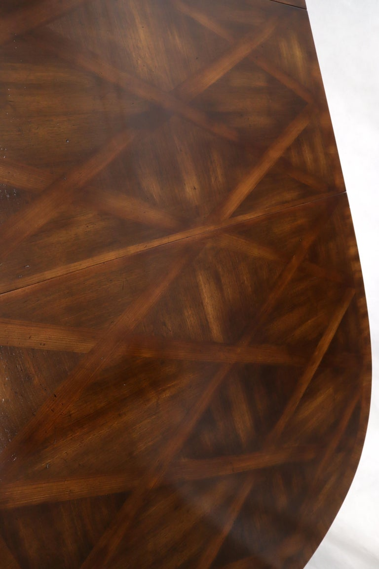 John Widdicomb Parquet Inlay Country French Dining Table with 3 Leaves For Sale 9