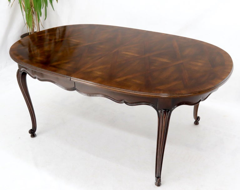 John Widdicomb Parquet Inlay Country French Dining Table with 3 Leaves For Sale 1