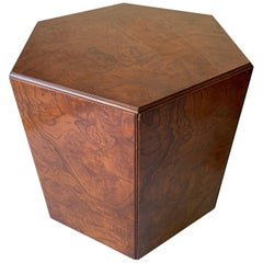 John Widdicomb Pentagon Burl Occasional Table