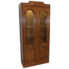 John Widdicomb Provincial Style Pecan Lighted Two-Door Curio Cabinet