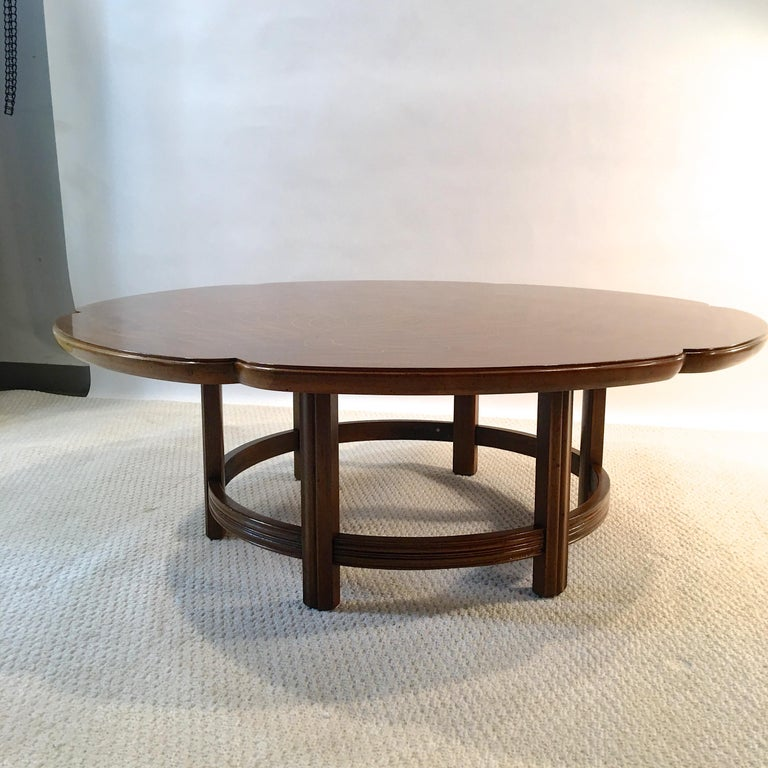 John Widdicomb Scalloped Edge Round Cocktail Table with Inlay For Sale 8