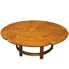 John Widdicomb Scalloped Edge Round Cocktail Table with Inlay