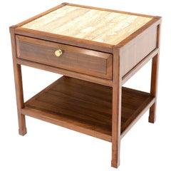 John Widdicomb Solid Walnut Oak Interior Travertine Top End Table Stand