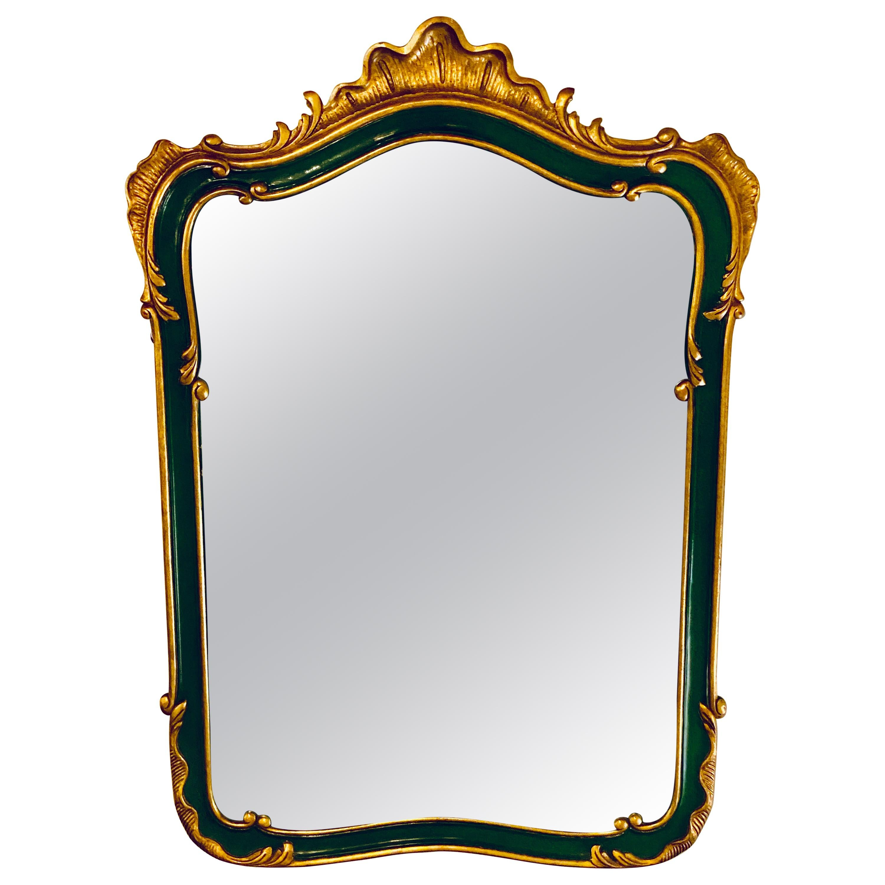 John Widdicomb Wall / Console Mirror Parcel Gilt and Decorated Shell Carved