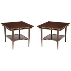 John Widdicomb Walnut, Teak Side Tables