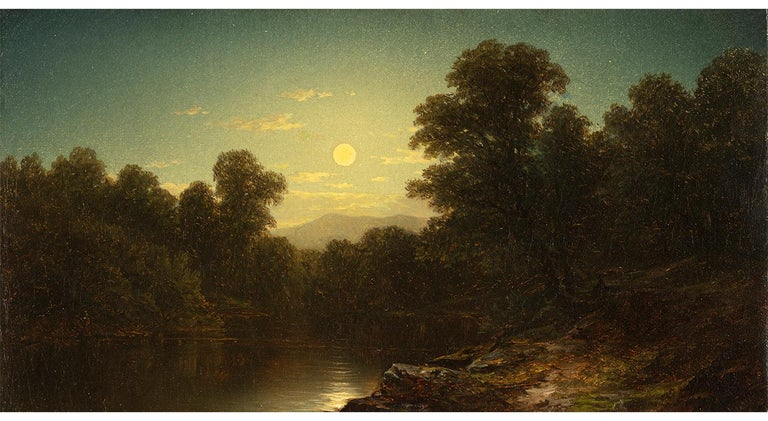 John William Casilear Landscape Painting - Moonlight