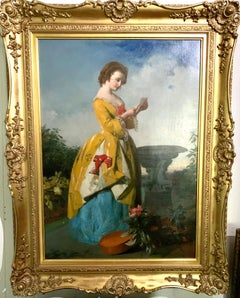Antique English Victorian garden oil painting of a lady reading a love letter