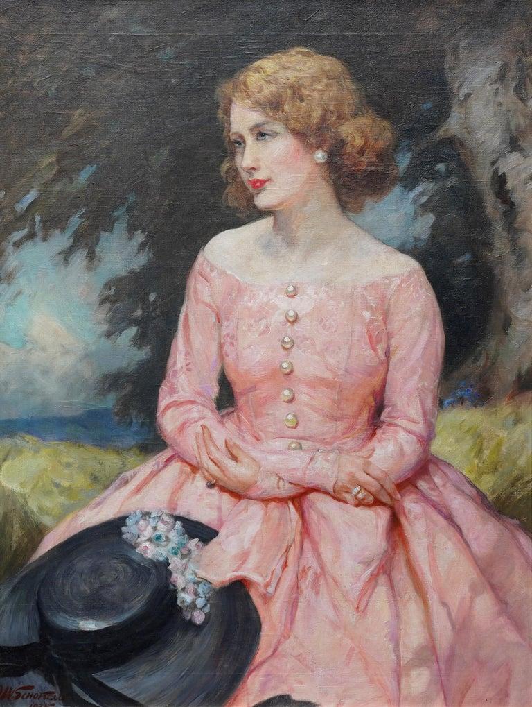 Portrait of Jonne - British art 1930 oil painting woman in landscape For Sale 6