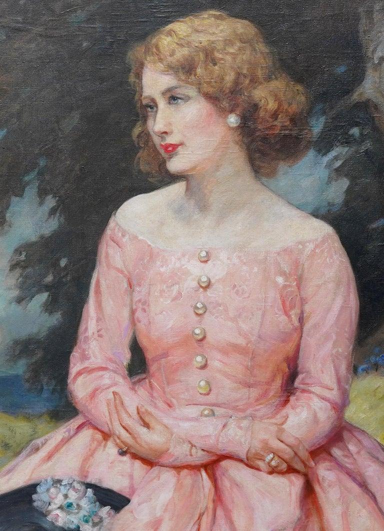 Portrait of Jonne - British art 1930 oil painting woman in landscape - Realist Painting by John William Schofield