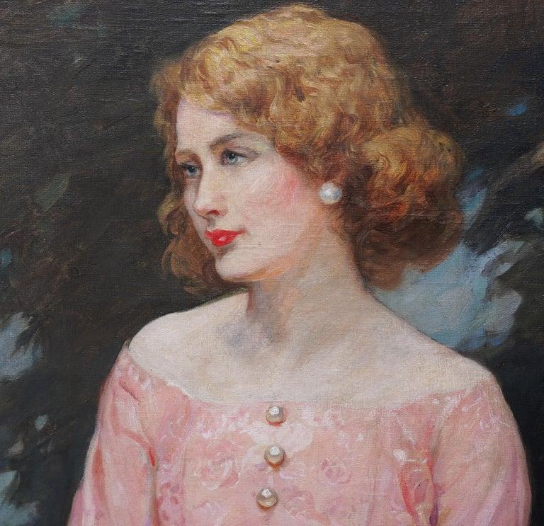 Portrait of Jonne - British art 1930 oil painting woman in landscape - Brown Portrait Painting by John William Schofield