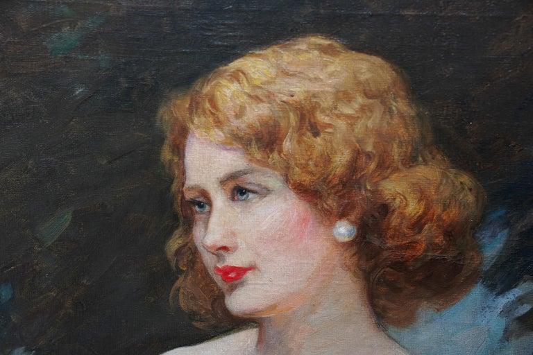Portrait of Jonne - British art 1930 oil painting woman in landscape For Sale 1