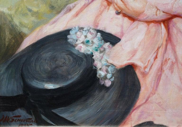 Portrait of Jonne - British art 1930 oil painting woman in landscape For Sale 3