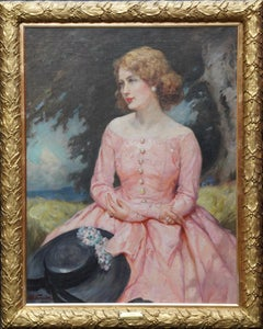 Portrait of Jonne - British art 1930's oil painting woman in landscape VG frame