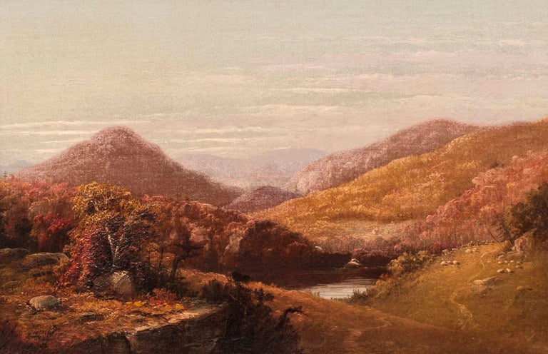 John Williamson (1826-1885) Catskill Clove, 1858 Oil on canvas  9 x 14 inches Signed lower left Signed again, dated 1858 and inscribed with location, verso