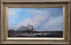 Lindisfarne Castle, Holy Island - British 19th century marine art oil painting