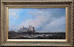 Lindisfarne Castle, Holy Island - British 19th century marine art oil painting