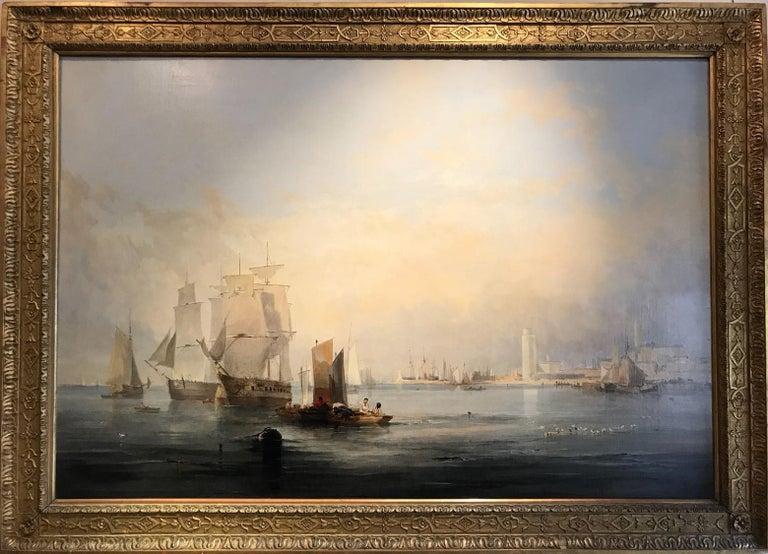 John Wilson Ewbank Landscape Painting - Enormous and beautifully lit 19th Century Marine