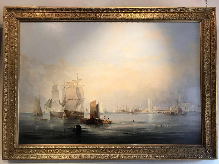 John Wilson Ewbank Figurative Painting - Enormous and beautifully lit 19th Century Marine