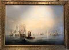 Grand 19th Century English Marine Painting in Stunning Light