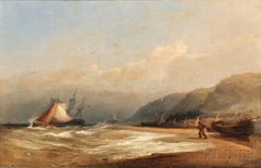 On the Beach by a Fishing Village, 1800-e