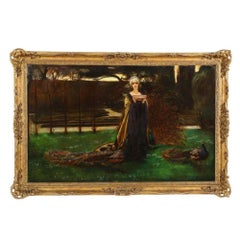 """Magnificent Quality Oil Painting """"Lady with Three Peacocks In The Garden"""""""