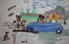 """Daddy Playing in the Mud"" San Antonio Texas Black Folk Artist Johnny Banks"