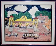 """""Southern Pacific Railroad Depot""  San Antonio Texas Black Texas Folk Artist"