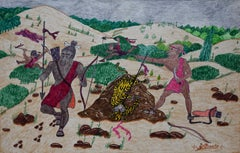 """The Safari Hunt for the Man Eating Tiger"" San Antonio Texas Black Folk Artist"