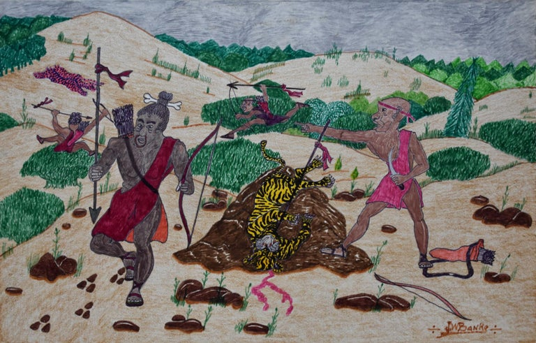 "Johnny Banks Landscape Painting - ""The Safari Hunt for the Man Eating Tiger"" San Antonio Texas Black Folk Artist"