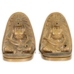 Johnson Bronze Co. Native American Incense Burner Bookends