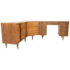 Johnson Carper Mid Century Walnut and Formica 4 Piece Corner Dresser Desk