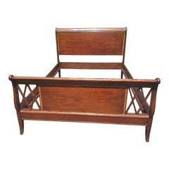 Johnson Furniture Mahogany Banded Queen Sleigh Bedframe