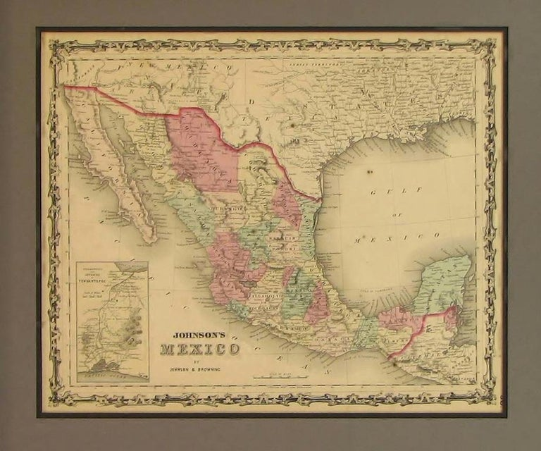 This is an attractive example of Johnson's 1861 map of Mexico.  Presented is a 1861 map of Mexico published by A. J. Johnson and Ross Browning as plate number 56 in the 1861 edition of Johnson's New Illustrated Family Atlas. the map features the