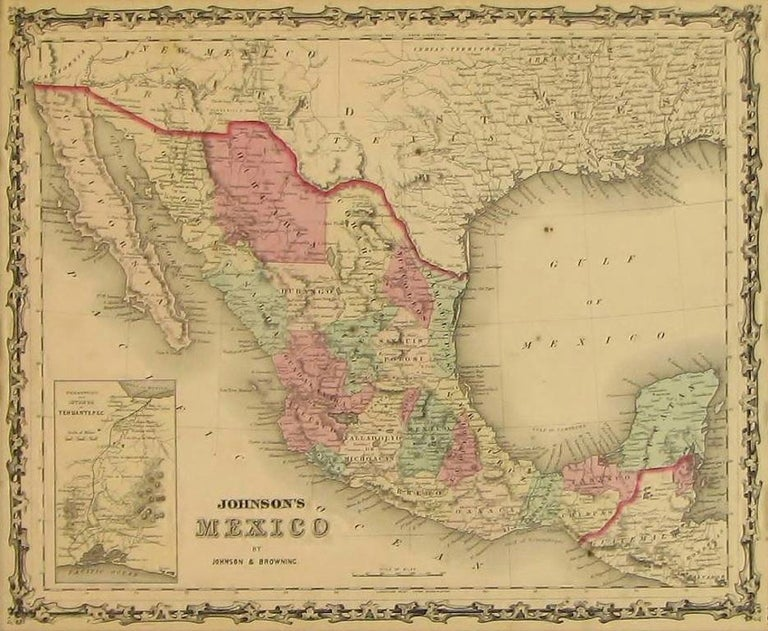 American Map of Mexico by A. J. Johnson, Antique Atlas Map, circa 1861