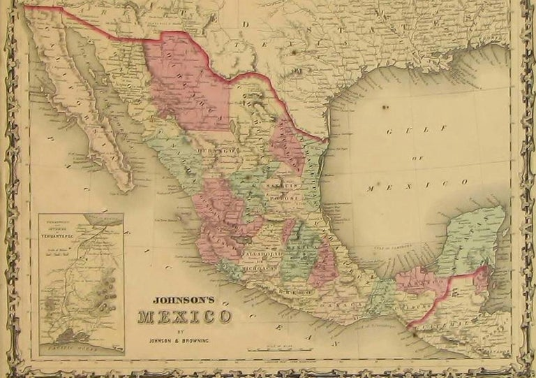 Map of Mexico by A. J. Johnson, Antique Atlas Map, circa 1861 In Good Condition In Colorado Springs, CO