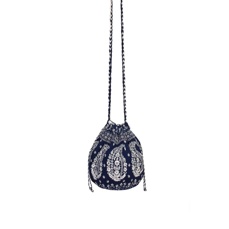 Joie Embroidered Bucket Bag Drawstring Closure Plaited Strap Detail In Excellent Condition For Sale In , GB