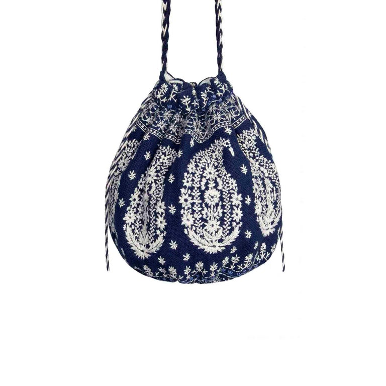 Joie Embroidered Bucket Bag Drawstring Closure Plaited Strap Detail For Sale 1