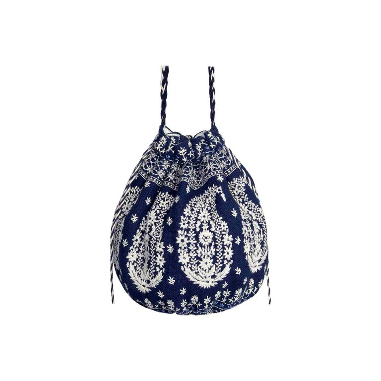 Joie Embroidered Bucket Bag Drawstring Closure Plaited Strap Detail For Sale