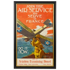 """Join the Air Service and Serve in France"" Vintage WWI Poster, 1917"