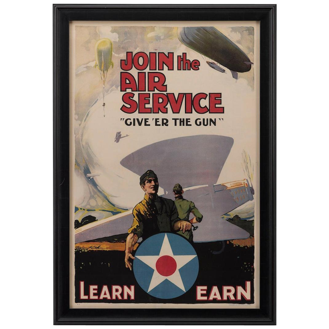 """U.S. Army Air Force Antique WWI Poster, """"Give 'Er The Gun"""" by Warren Keith, 1918"""