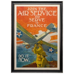 """Join the Air Service"" Vintage WWI Poster by J. Paul Verrees, 1917"