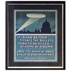 """""""Join the Army at Once & Help to Stop an Air Raid"""" Vintage British WWI Poster"""
