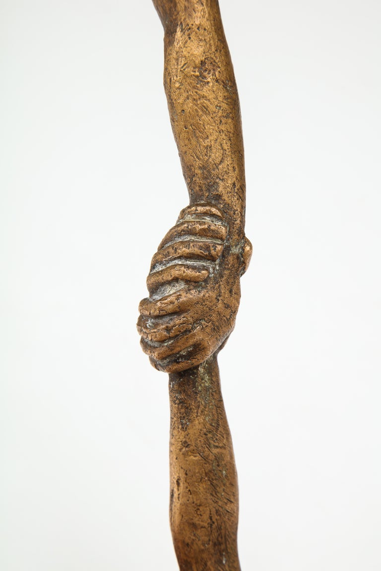 'Joined Hands' Bronze Sculpture by Victor Salmones For Sale 9