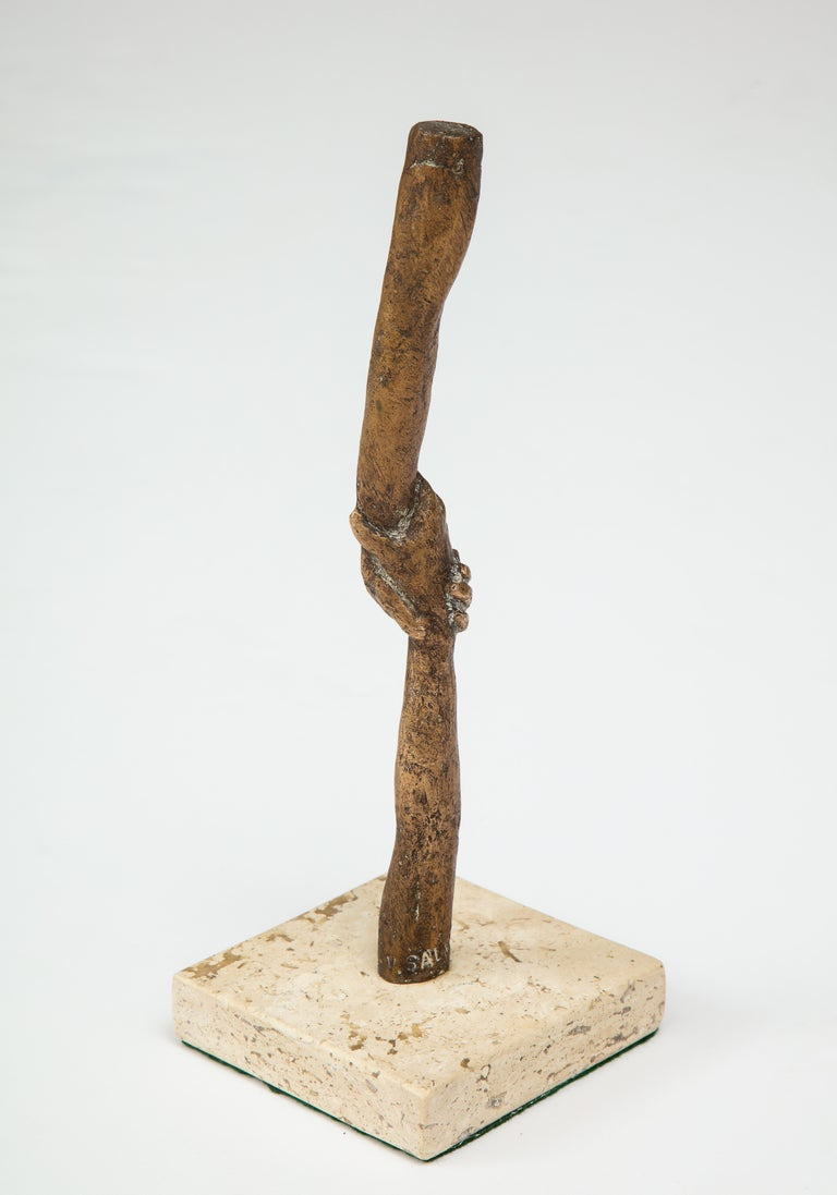 Mexican 'Joined Hands' Bronze Sculpture by Victor Salmones For Sale